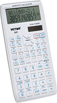 Victor 940 10-Digit Advanced Scientific Calculator with 2 Line Display, Battery and Solar Hybrid Powered LCD Display, Great for Students and Professionals, White