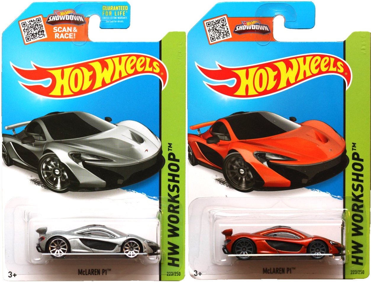 Mclaren P1 Set Of Hot Wheels 2 Cars Orange Silver Hw Workshop