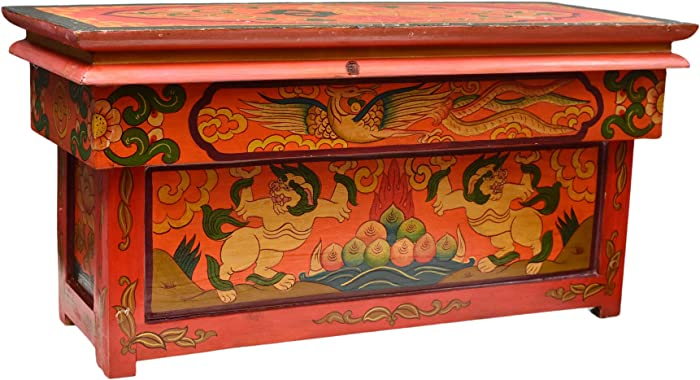 Altar Table for Meditation Yoga Room, Tibetan Furniture for Unique Home Décor; by Mudra Crafts (Large, Red)