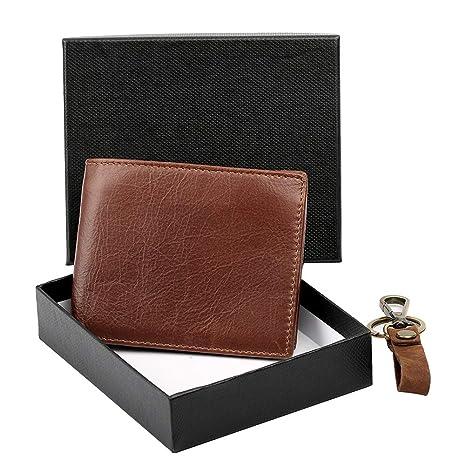 Young & Ming Billetera Bloqueo RFID para Hombre Carteras Marrón de Cuero Genuino Monedero Bifold con