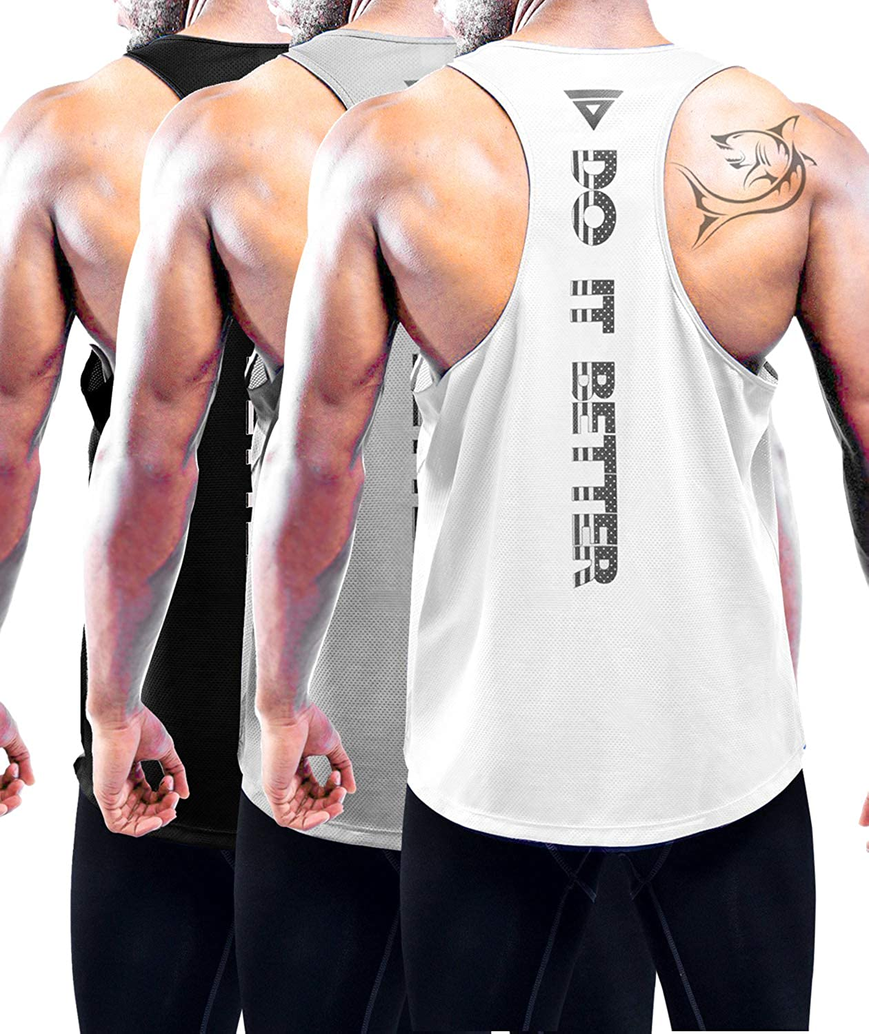 Mens Workout Tank Top Dry Fit Cool Gym Athletic Training Sleeveless Bodybuilding Shirts