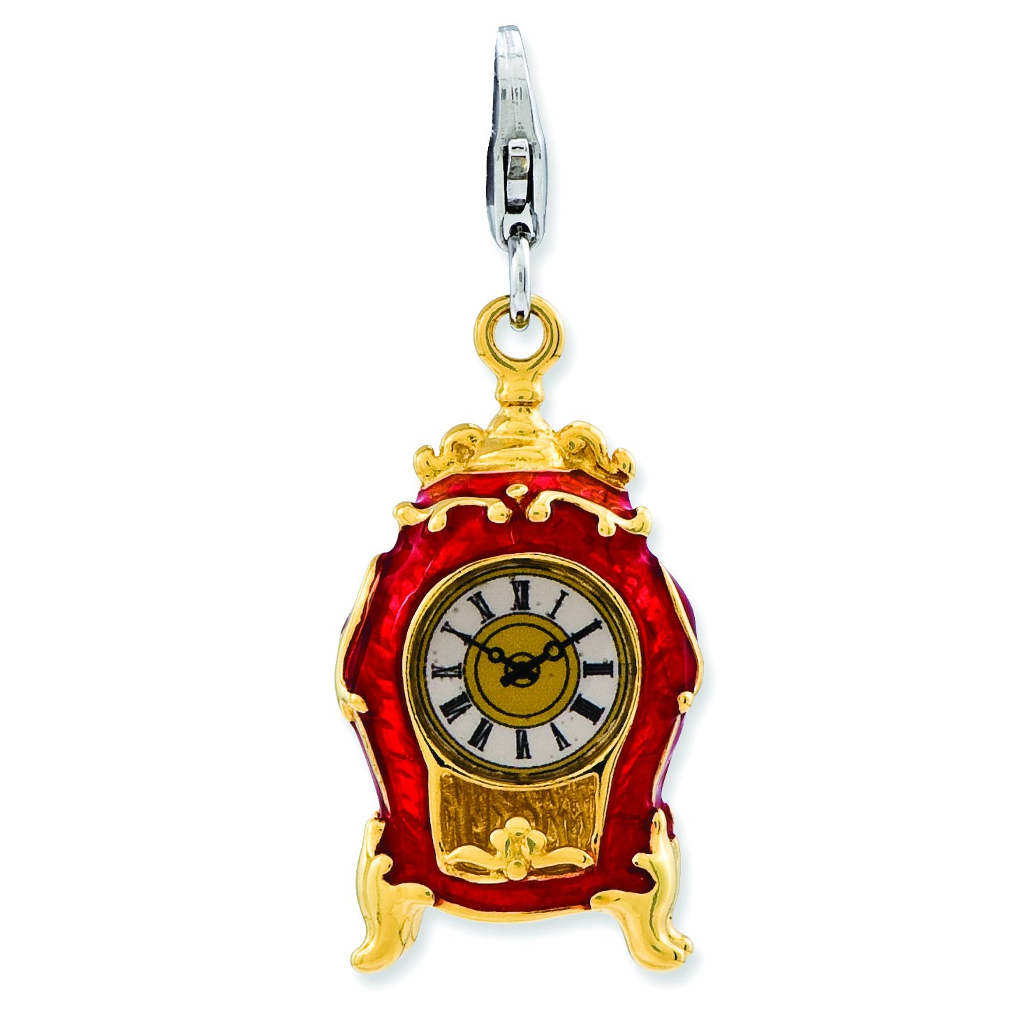 Amore La Vita Sterling Silver 3-D Enameled House Clock with Lobster Clasp Charm