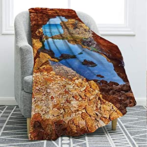 """Flannel Fleece Microfiber Bed Blanket,Cavern Rocks by the Pacific Waters with Stunning Australian Sea and Sky Landscape Road Throw Size (50 x 70"""") Cozy Couch Bed Super Soft & Warm,Cream Blue"""