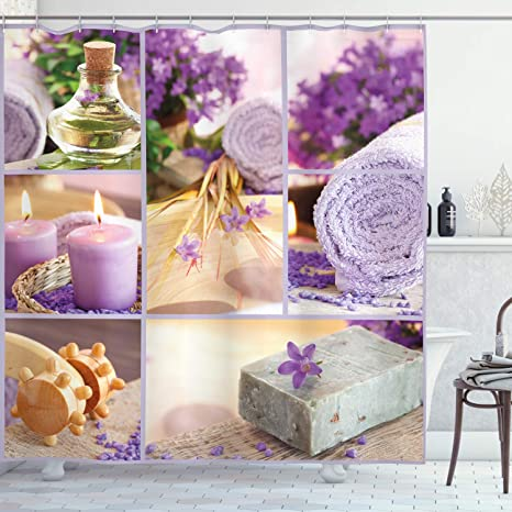 Amazon Com Ambesonne Spa Shower Curtain Lavender Themed Relaxing Joyful Spa Day With Aromatherapy Oils Candles Relaxation Cloth Fabric Bathroom Decor Set With Hooks 70 Long Purple And White Home Kitchen