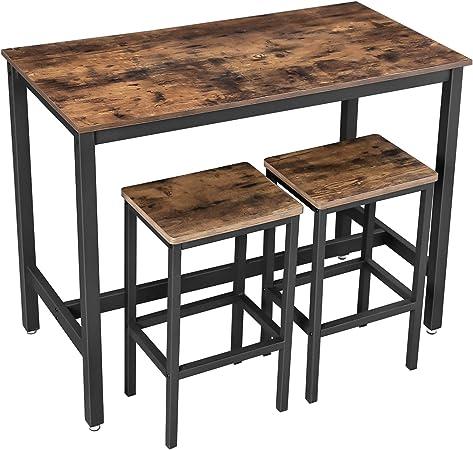 Vasagle Lot Table Et Chaises De Bar Table Haute Avec 2 Tabourets De Style Industriel Pour Cuisine Salle A Manger Salon Marron Rustique Lbt15x