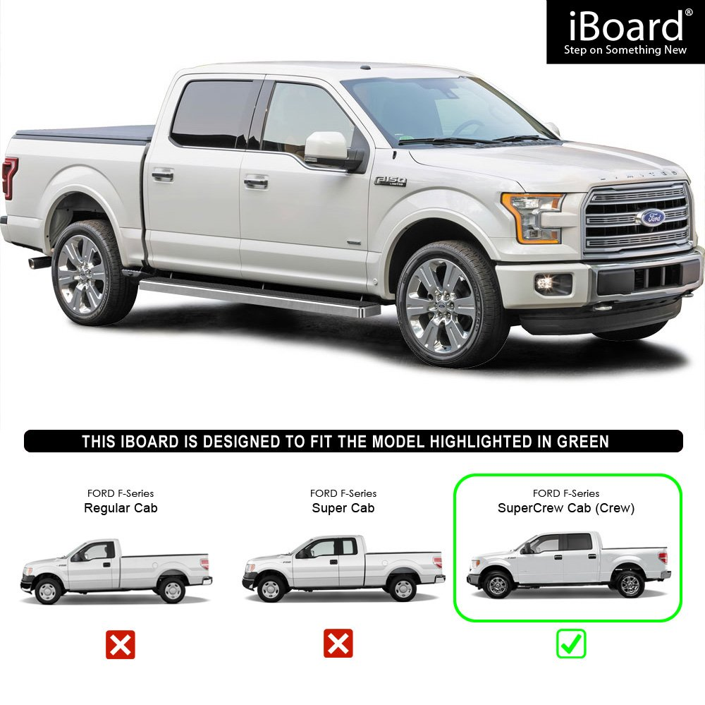 Silver 4 inches Side Steps Running Boards Nerf Bars Step Rails for 2015-2019 Ford F150 SuperCrew Cab Pickup 4-Door // 2017-2019 Ford F-250//F-350 Super Duty APS iBoard