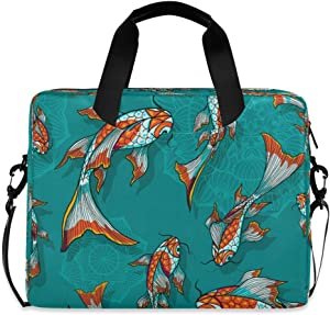 Koi Goldfish Turquoise Laptop Case 15.6 Inch Carrying Protectiv Case with Strap