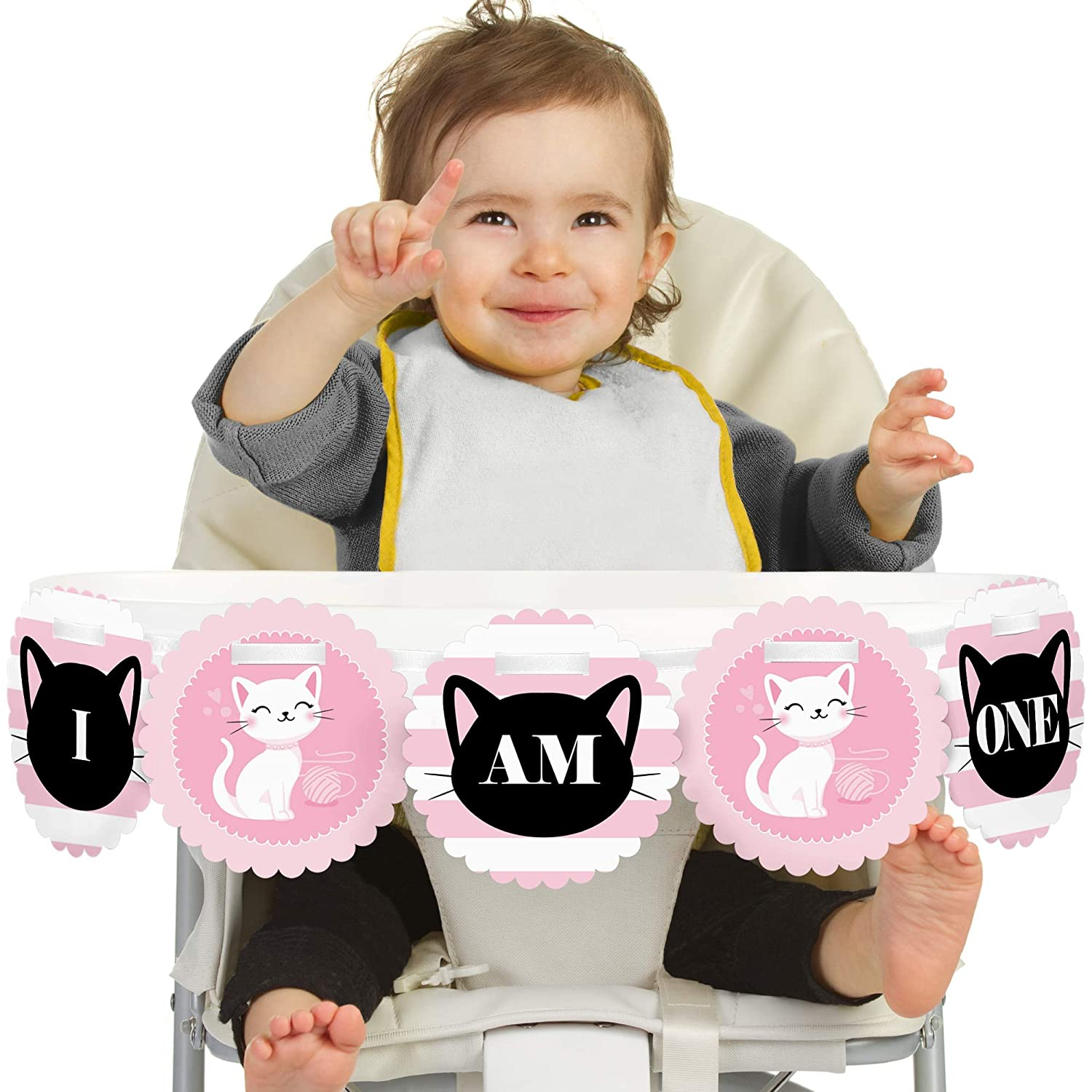 First Birthday High Chair Banner Big Dot of Happiness Purr-FECT Kitty Cat 1st Birthday I Am One