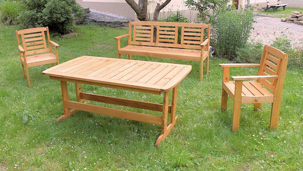 Massivholz Garten Sitzgruppe Lonus-1 , Kiefer , Holzfarbe Nuss , Holzdicke : 28 cm , Set : Gartenbank , 2 Sessel , Massivholztisch .