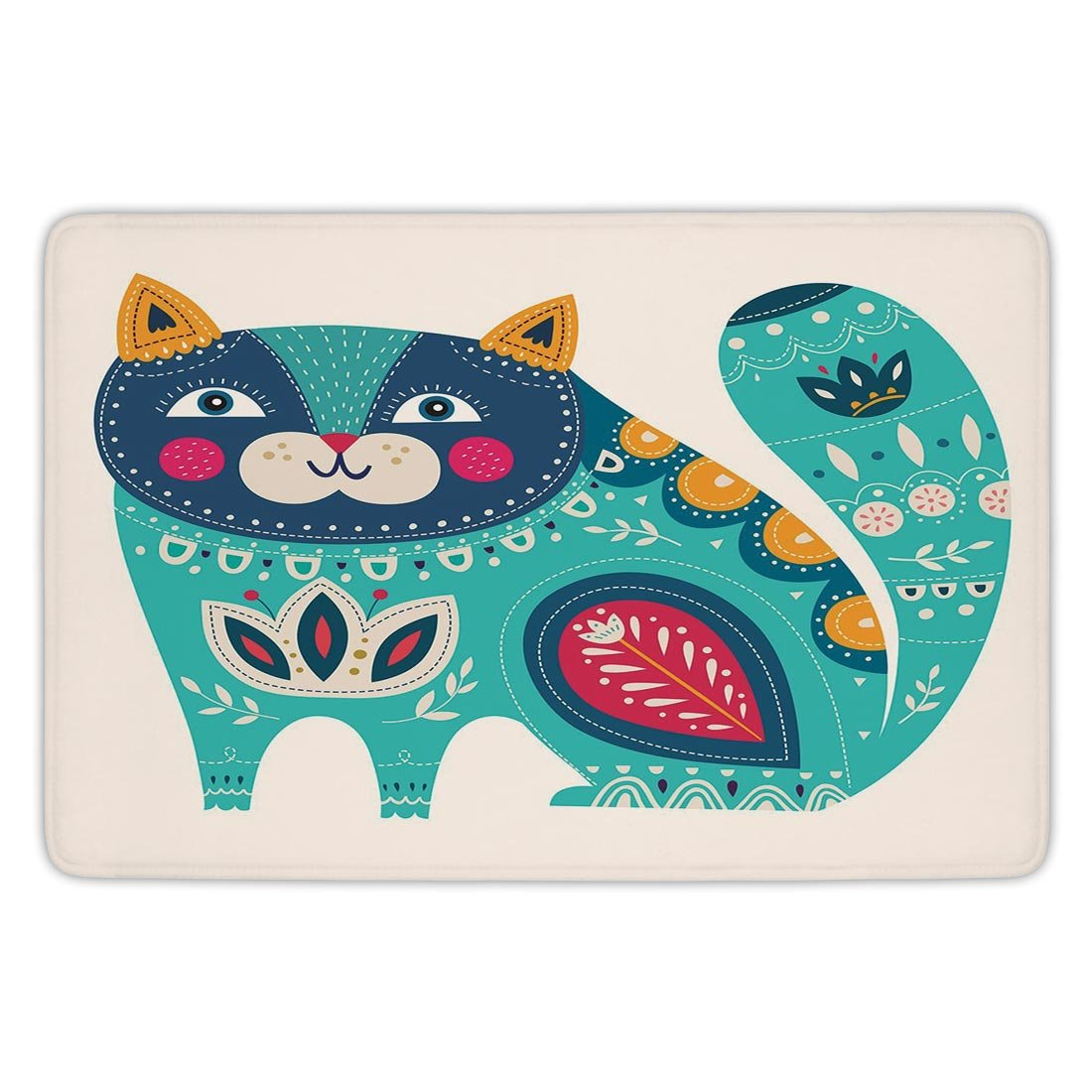 Bathroom Bath Rug Kitchen Floor Mat Carpet,Animal,Cute Chubby Smiling Cat with Colorful Paisley Motif Ethnic Tribal Style Figures Art Decorative,Multicolor,Flannel Microfiber Non-slip Soft Absorbent
