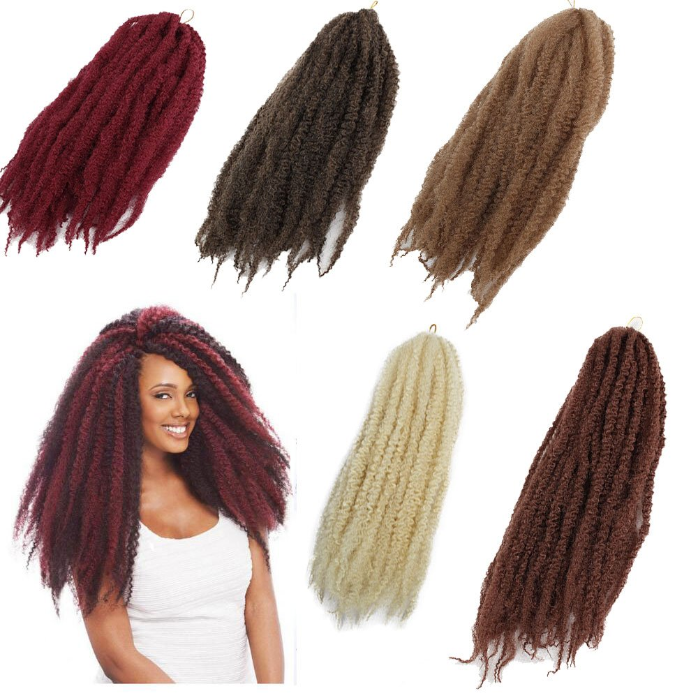 3Packs Afro Kinky Marley Braids Hair Extensions 18 Synthetic Afro Kinky Twist Crochet Braiding Hair Mixed Color Bulk Twist Crochet Braids 60g/pc Synthetic Hair For Braiding African Twist (613) Eunice hair factory