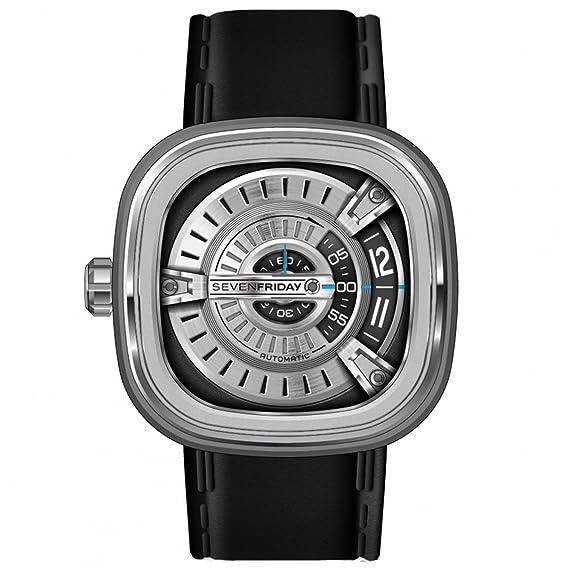 Seven Friday M1-1 - Reloj para hombres, correa de cuero color negro: Amazon.es: Relojes