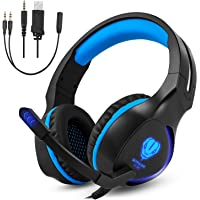 Xbox One, PS4 Gaming Headset , Headphones with Mic and LED Light for Laptop Computer,Stereo Gamer Headphones,3.5mm Wired Noise Isolation Gaming Headphones (SL-100 Blue&Black)