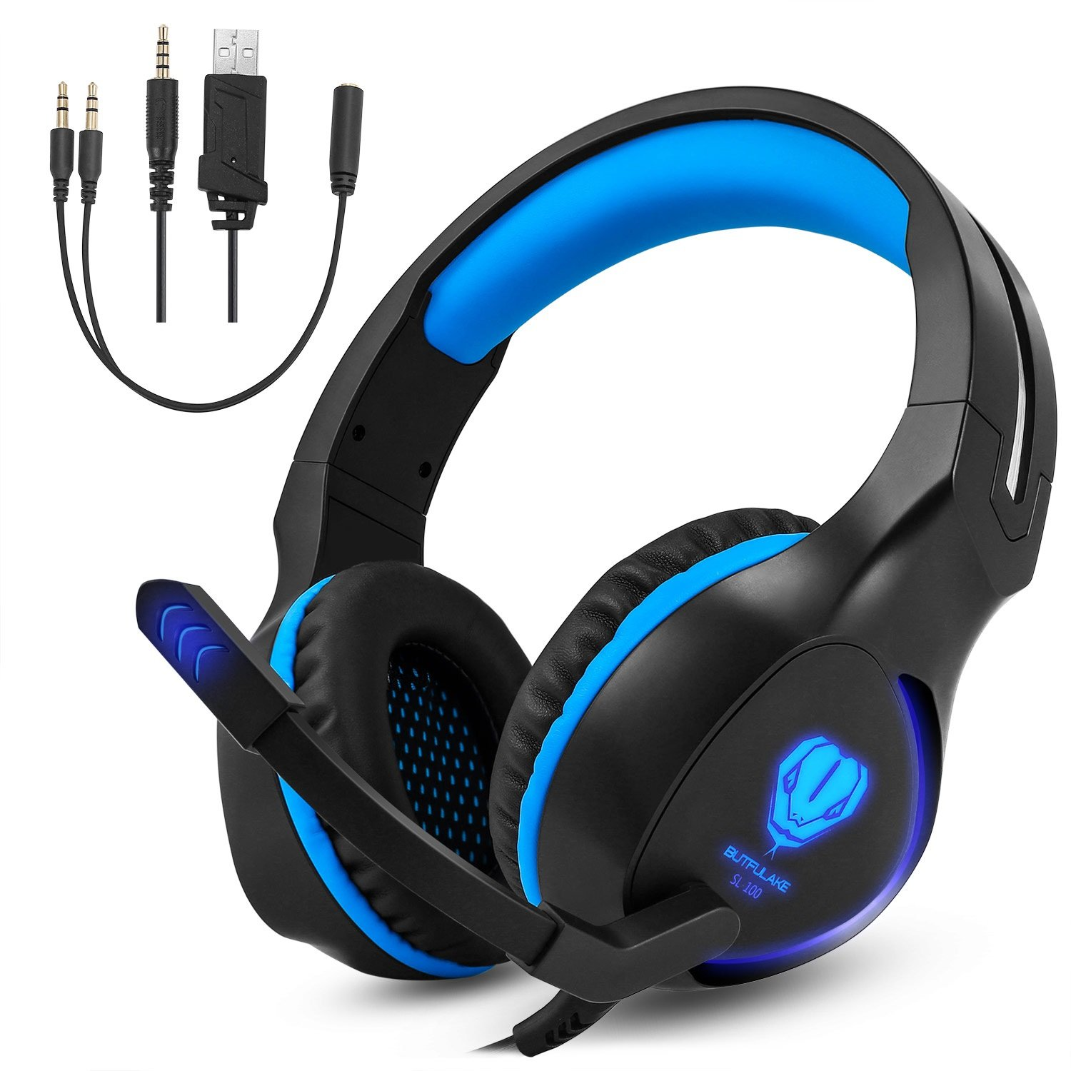 Megadream PS4 Over-Ear Stereo Gaming Headphone, 3.5mm Wired Headset Noise Cancelling with Mic LED Light for Xbox One, Xbox One S, Xbox One X, PS4, PS4 Pro, PS4 Slim Laptop Tablet Phone Black Blue