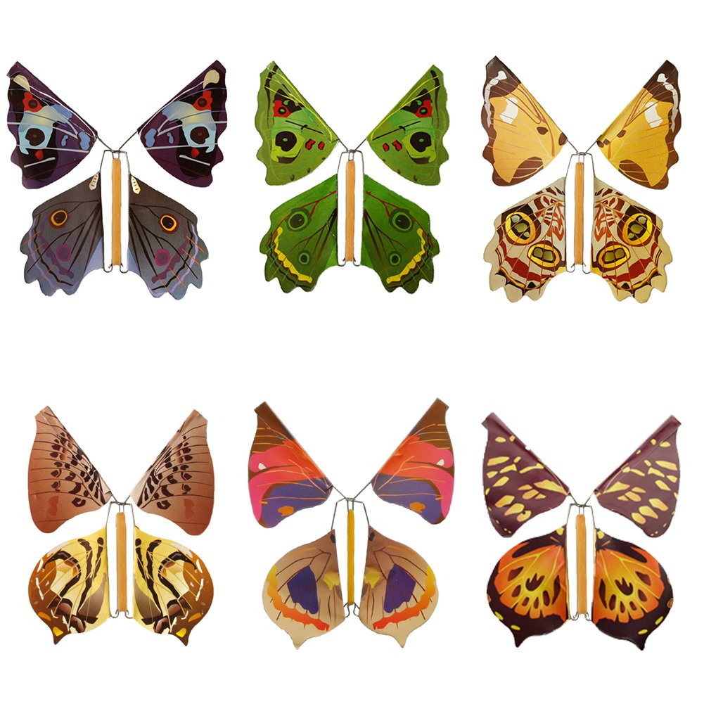 SHZONS Flying Butterfly, 100pcs Children's Magic Prop Toy Magic Fairy Flying in The Book Butterfly Rubber Band Powered Wind Up Butterfly Toy Great Surprise Gift