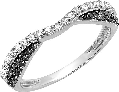 anillo oro blanco y diamantes negros y blancos
