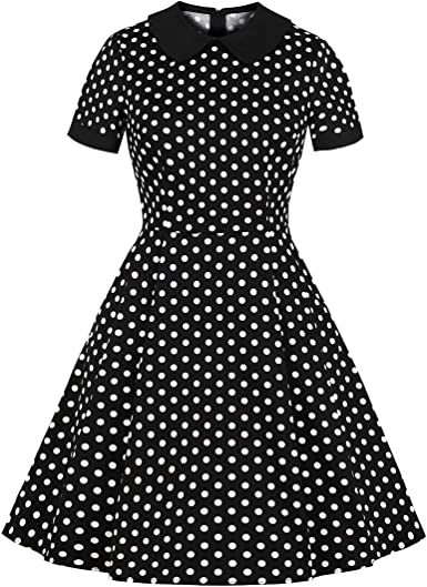 1960s calf length black with white details and pockets shirt dress rockabilly pinup