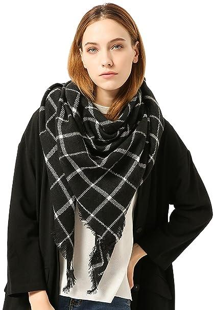 12399b11b Plaid Triangle Scarf For Womens Blanket Wrap Shawl Tartan Warm  WinterTassels Cashmere Scarves Large Gorgeous Wear