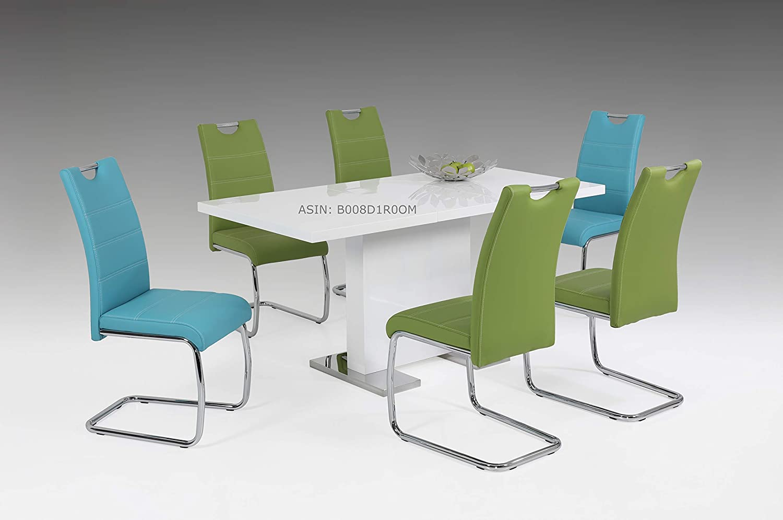 Schwingstuhl Blau: 2er Set Schwingstuhl Flora, Kunstleder Petrol, Griffmulde, Metallgestell verchromt, 42x57x98 cm