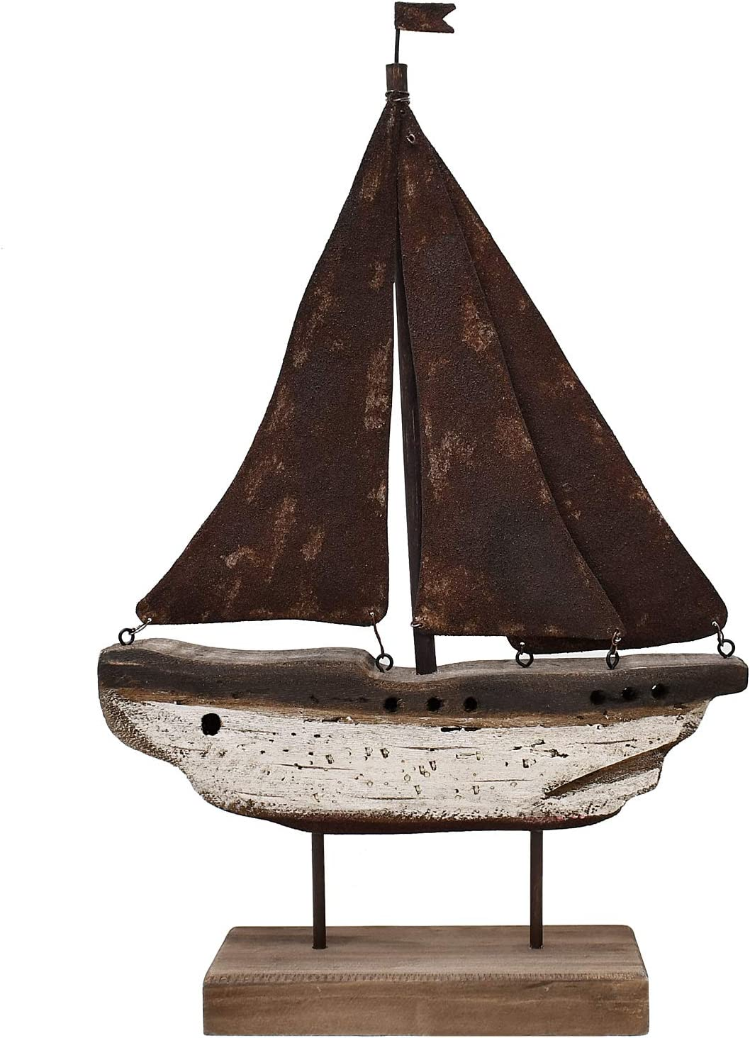 Nautical Wood Sailboat Tabletop Ornaments Handmade Rustic Wooden Boat Decoration Decorative Sailing Boat Model Beach Theme Home Decor (15
