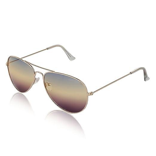 f802b53ab4 Clear Lens Aviator Glasses Unisex UV400 Protected Metal Framed Gold  Eyeglasses By SunnyPro (Gradient)