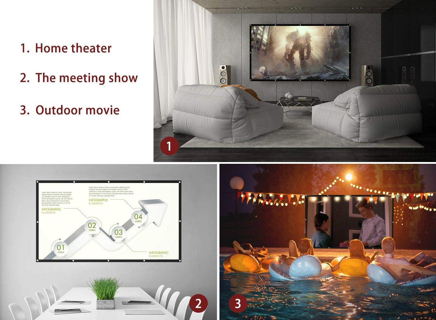100 inch Projector Screen Outdoor Portable