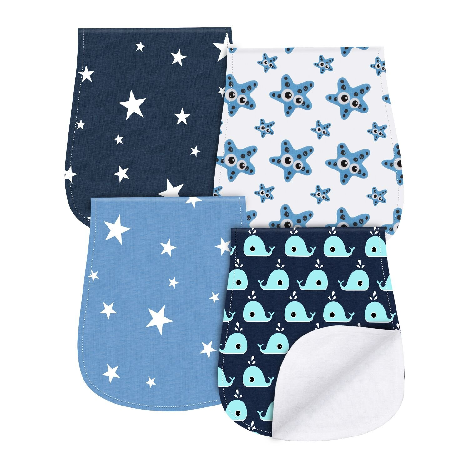 0e0840860ae08 Baby Burp Cloths 4 Pack Triple Layer Burping Rags Soft and Absorbent for  Boys Girls by YOOFOSS