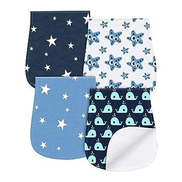 Paños Para Bebés, Burpy baberos de bebé, Paño Eructo 4 Unidades Fabricado en Algodón Orgánico de YOOFOSS … (Azul)