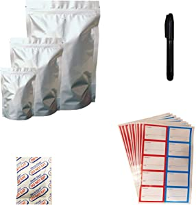 Mylar storage bags 100x 4in1, stand up 3 sizes Mylar Bags, Mylar food storage bags Oxygen Absorbers, Long Term Food Storage, airtight, berry containers for fridge, heat seal bags, Food Survival, Freeze Dried, Dehydrated, Preserved Food , bolsas mylar para guardar alimentos