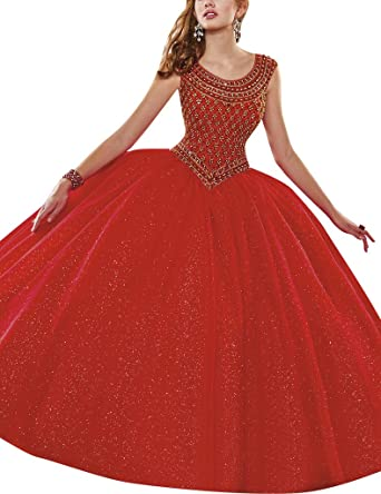 HUINI Crystal Beads Ball Gown Quinceanera Prom Dresses Party Formal Gowns: Amazon.co.uk: Clothing