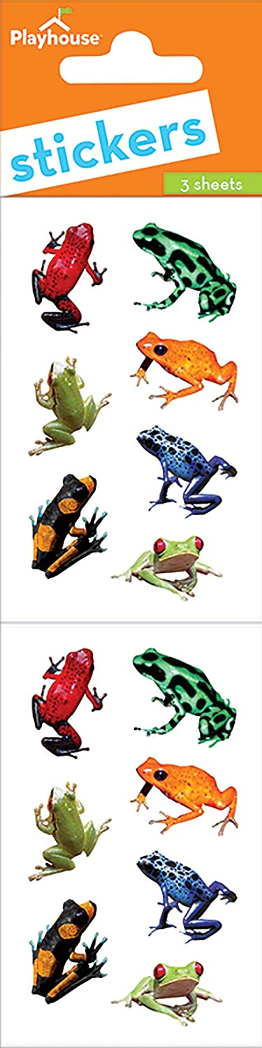 Playhouse Rainforest Frogs Pack of Three Perforated Sticker Sheets