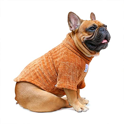 BESUFY Autumn Pet Solid Color Turtleneck Knitted Sweater Two-Legged Cat Dog Clothes,Dog Onesie,Breathable Cute Soft Warm Christmas Puppy Clothes for Small Medium Dogs Beige Yellow XS