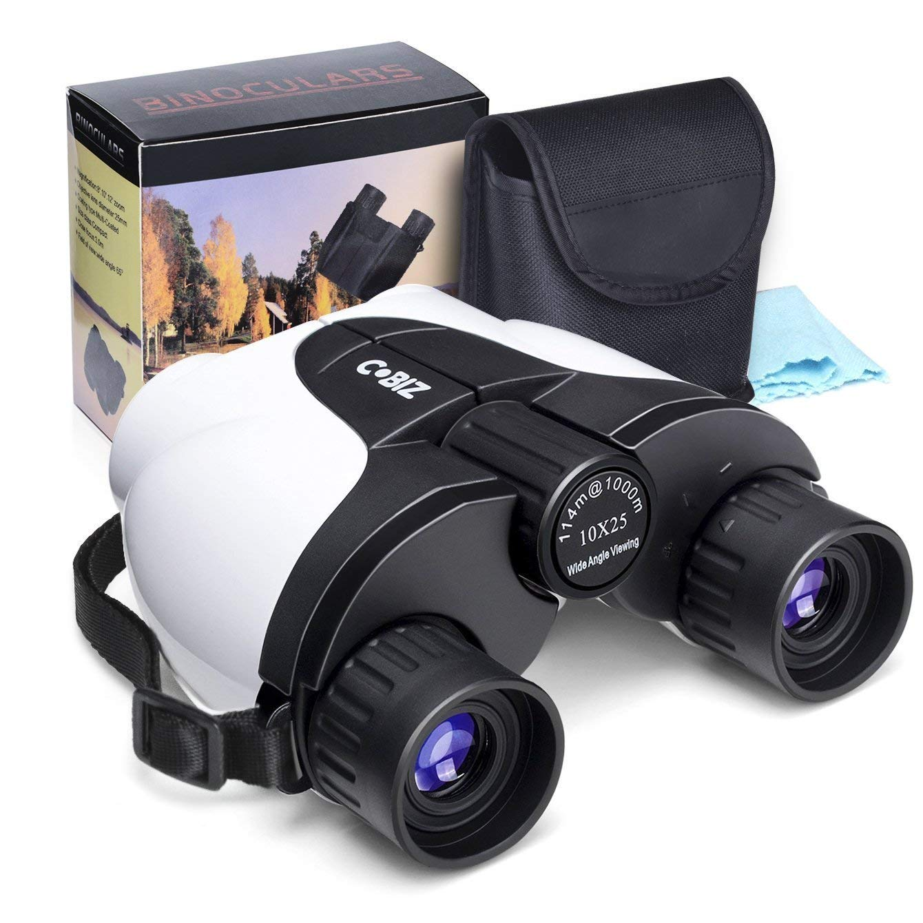 Cobiz 10x25 Compact Binoculars for Kids and Adults, Folding Spotting Telescope for Bird Watching,Outdoor Camping and Sports Games,Best Gift for Boys,Girls by Cobiz