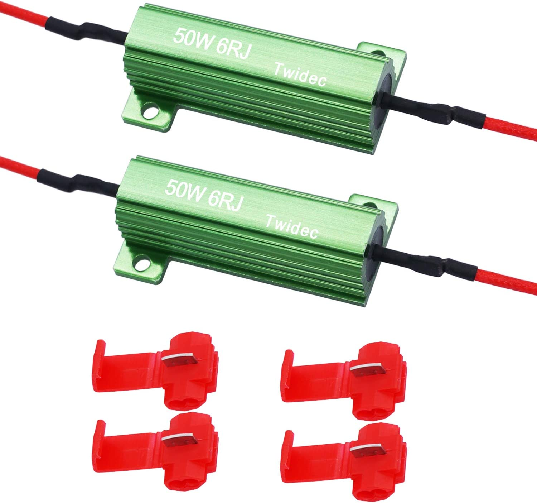 Twidec//2Pcs 50W 6Ohm LED Load Resistors For Fix LED Hyper Flash Turn Signal Light or LED License Plate Lights (Two years warranty)RX24-50W6-2X