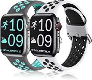 Henva Compatible with Apple Watch Band SE 38mm 40mm, Replacement Accessories Breathable Sport Band Wristbands with Air Holes for iWatch Series 6/5/4/3/2/1, Gray/Teal, White/Black, S/M