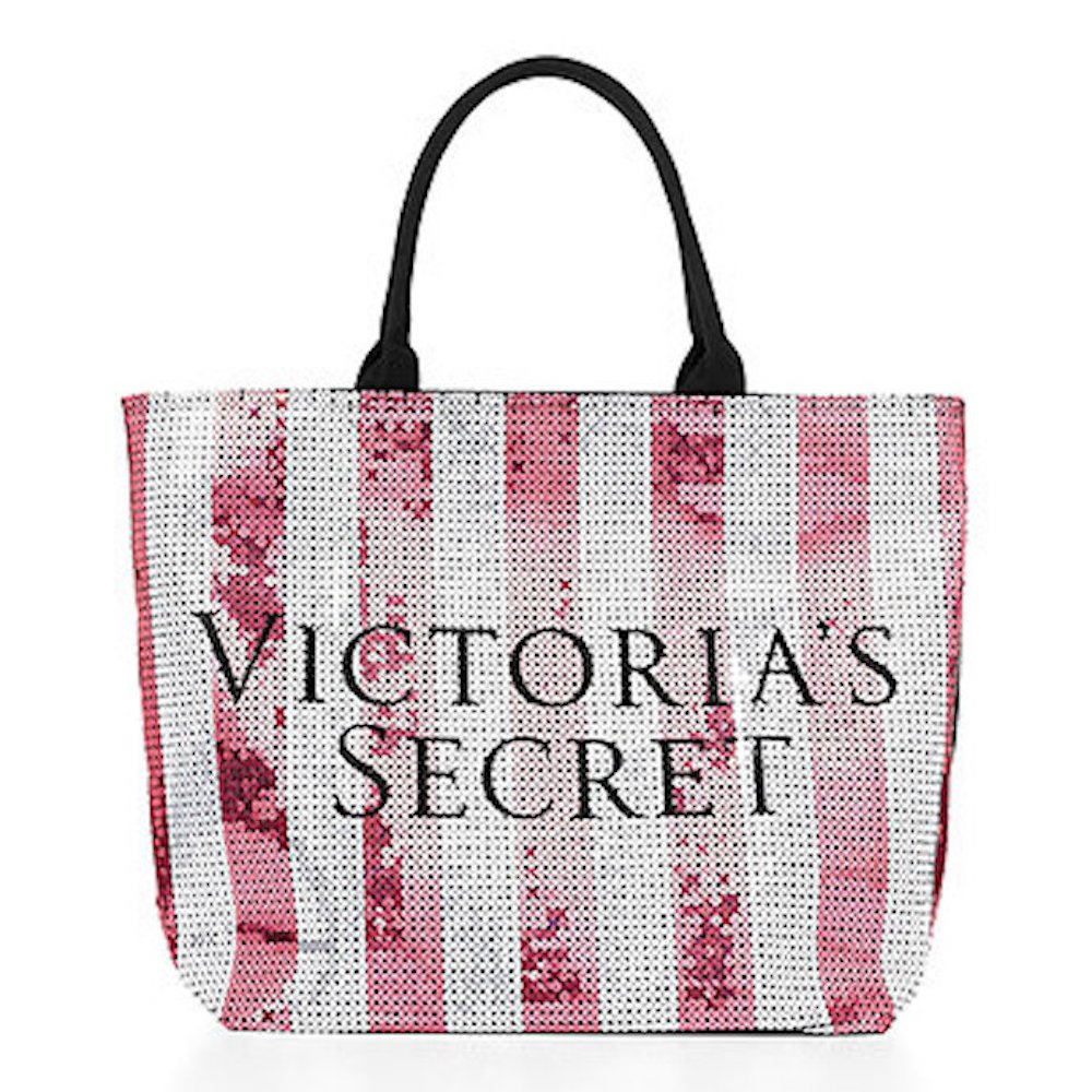 Victoria s Secret Limited Edition Sequins Canvas Tote Bag Iconic Stripes