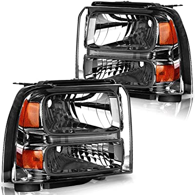 OEDRO Headlights Compatible with 2005-2007 Ford F250 I F350 I F450 I F550 Super Duty I 2005 Ford Excursion Headlamp With Amber Corner Clear Lens, Smoking Housing, 2-Yr Warranty: Automotive