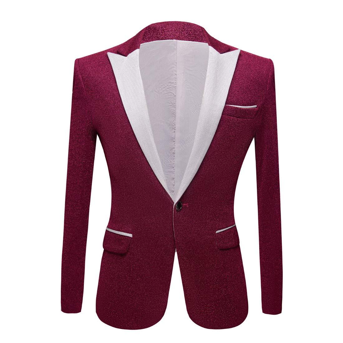 PYJTRL Men Fashion Shiny Blazer Wedding Grooms Prom Dress Suit Jacket
