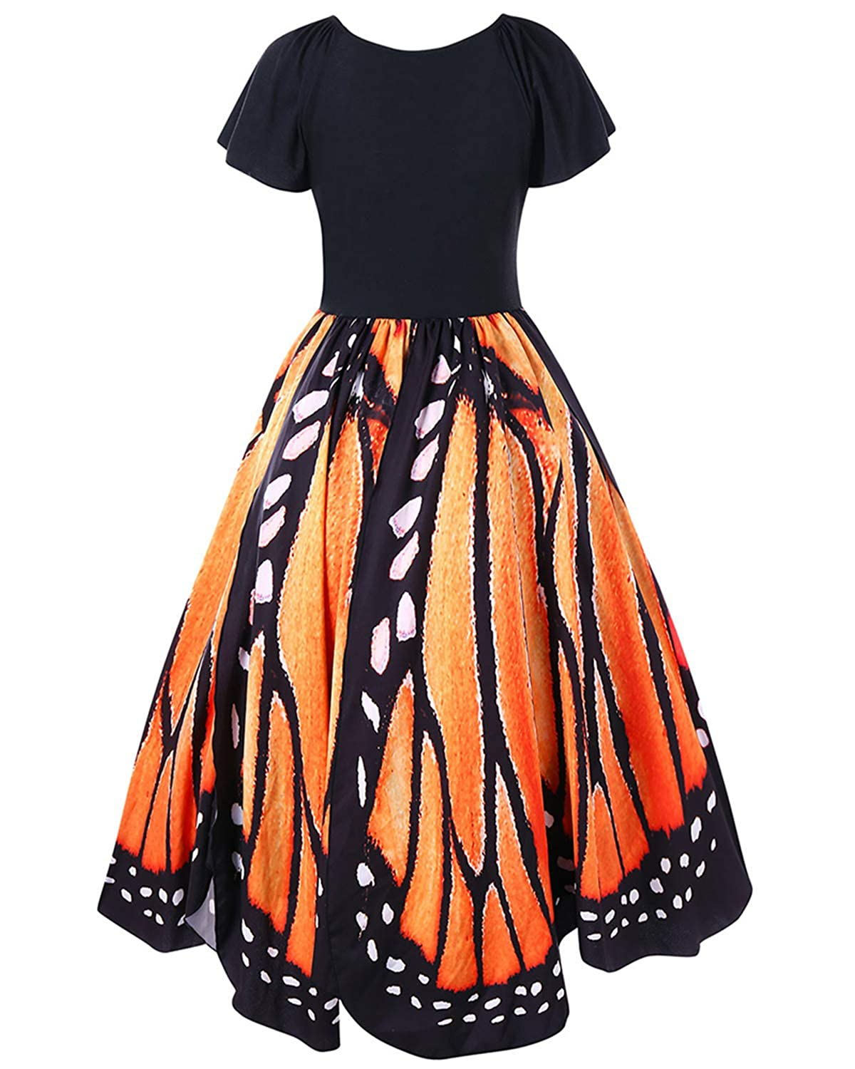98ccb0b843a GAMISS Women s Vintage Butterfly Print Short Sleeves A-Line Plus Size Dress  XL-5XL at Amazon Women s Clothing store