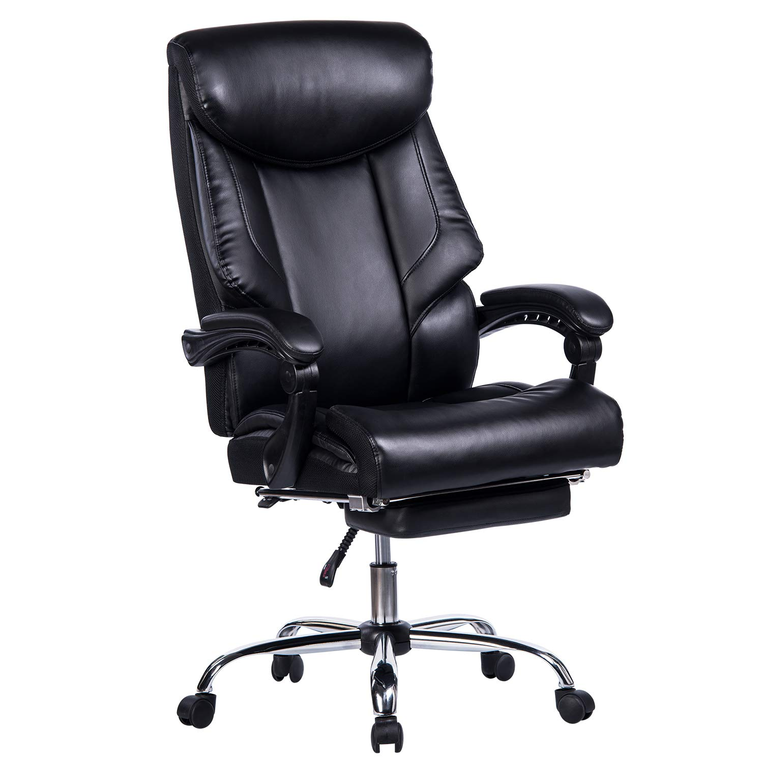 VANBOW Reclining Office Chair - High Back Memory Foam Bonded Leather Executive Chair with Retractable Footrest, Adjustable Angle Recline Lock System, Thick Padding Ergonomic Design