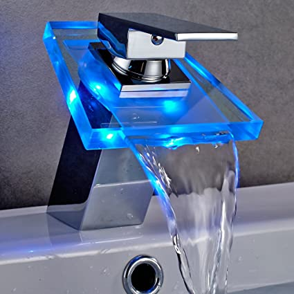 Auralum LED Glass Waterfall Faucet Bathroom Basin Sink Faucet Chrome ...