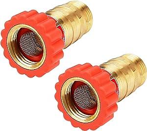 Solimeta Lead-Free Brass, Water Pressure Regulator, Garden Hose Pressure Regulator, Pressure Reducer for Camper, Trailer, RV, Garden, Plumbing System, 40-50 psi, 3/4