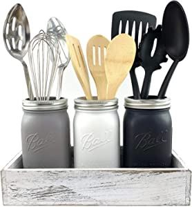 Large Mason Jar Utensil Holder for Kitchen - Handcrafted, Chalk Painted Utensil Caddy Crock Set with Rustic Farmhouse Kitchen Decor Wood Tray - For Cooking Utensils, Countertops, Silverware