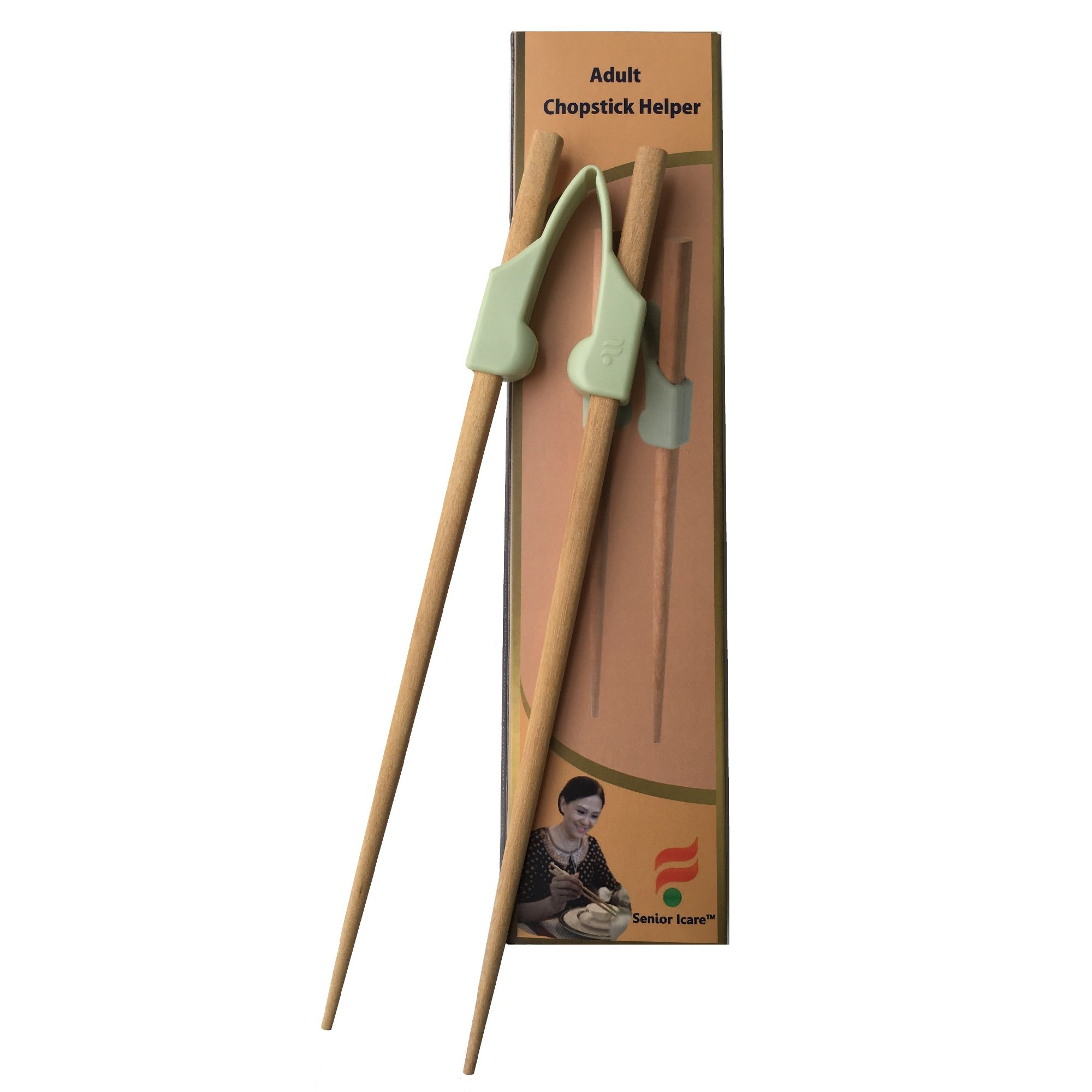 Senior ICare Adult chopstick helpers/trainers - Design for adult - BPA free POM non-toxic hard engineering plastic helper - left or right hand - Non-slippery replaceable wood chopstick