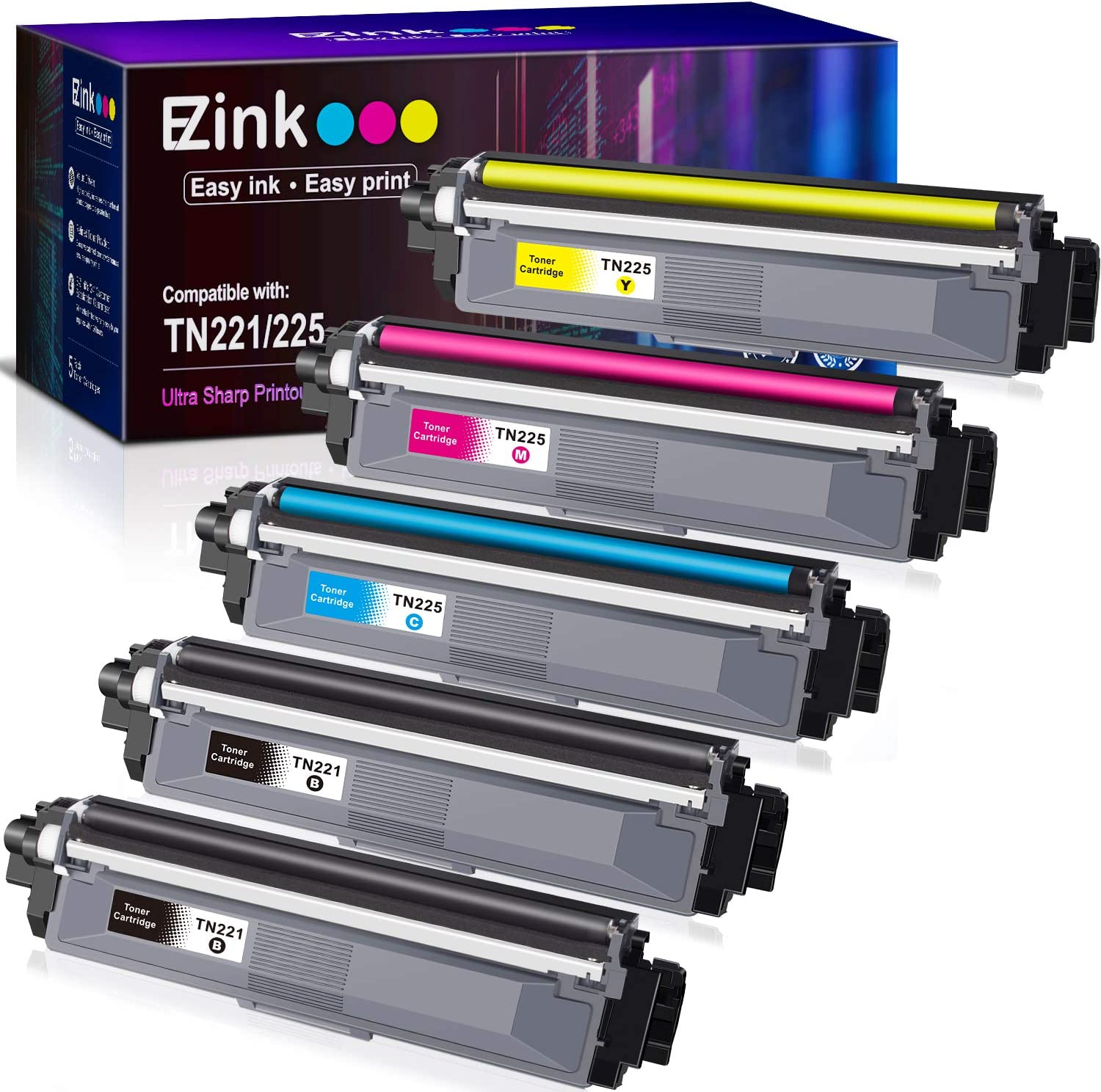 E-Z Ink (TM) Compatible Toner Cartridge Replacement for Brother TN221 TN225 to Use with HL-3140CW HL-3170CDW HL-3180 MFC-9130CW MFC-9330CDW MFC-9340CDW (2 Black, 1 Cyan, 1 Magenta, 1 Yellow) 5 Pack