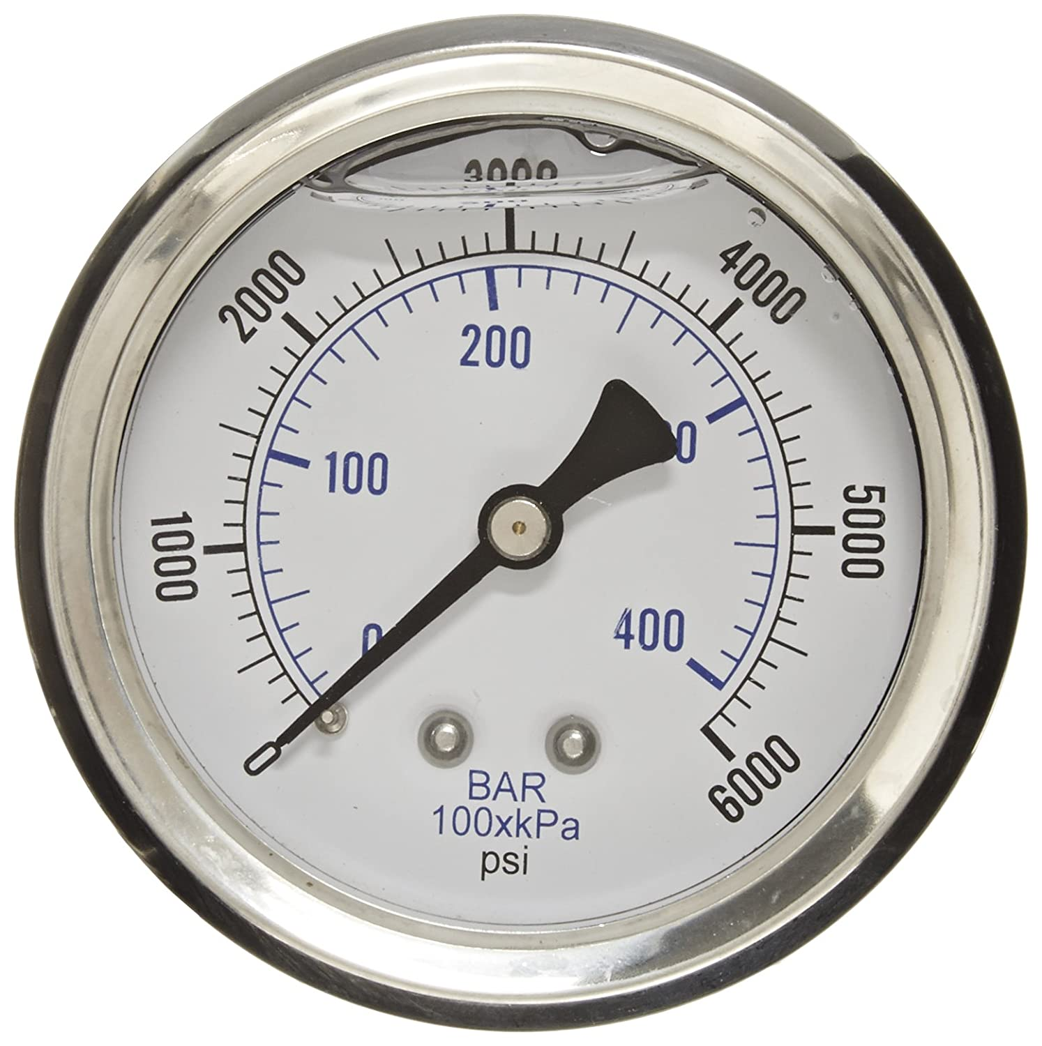 PIC Gauge PRO 202L 254S Glycerin Filled Industrial Center Back Mount Pressure Gauge with Stainless Steel Case Brass Internals Plastic Lens 2 1 2 Dial Size 1 4 Male NPT 0 6000 psi