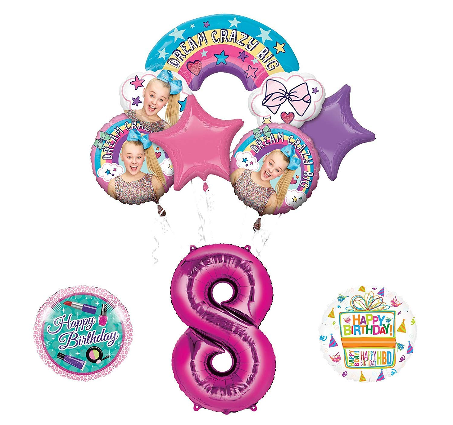 Amazon Mayflower Products JoJo Siwa 8th Birthday Balloon Bouquet Decorations And Party Supplies Toys Games