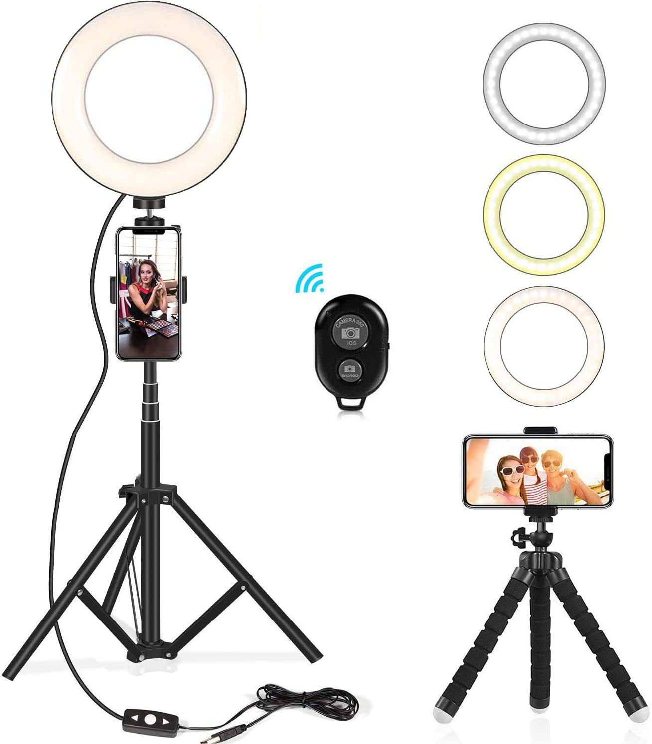 """Selfie Ring Light Kit 6.5"""" with Extendable Light Stand, Flexible Tripod Stand & Cell Phone Holder for YouTube Video Shooting/Live Stream/Makeup/Vlogs/Desktop with 3 Light Modes for iPhone, Android"""