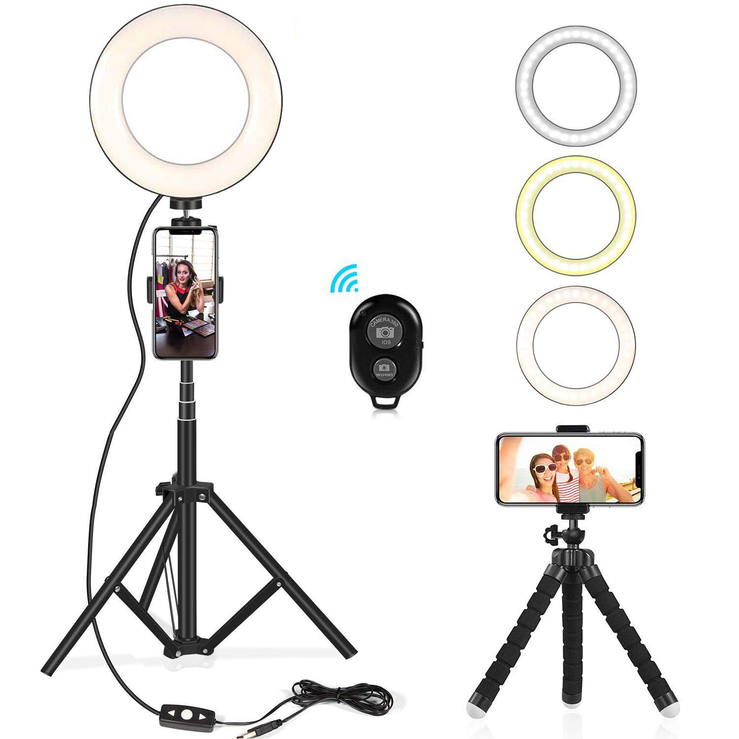 Selfie Ring Light Kit 6.5'' with Extendable Light Stand, Flexible Tripod Stand & Cell Phone Holder for YouTube Video Shooting/Live Stream/Makeup/Vlogs/Desktop with 3 Light Modes for iPhone, Android by Kaqinu