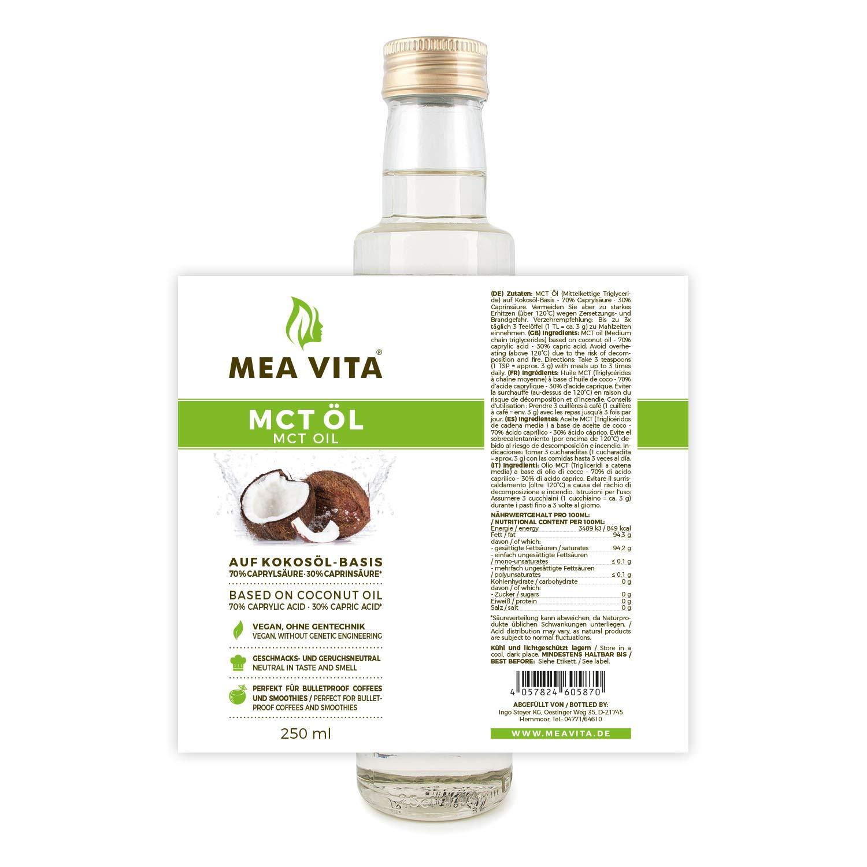 MeaVita MCT Oil, calidad superior, 2 paquete (2x 500ml): Amazon.es: Alimentación y bebidas